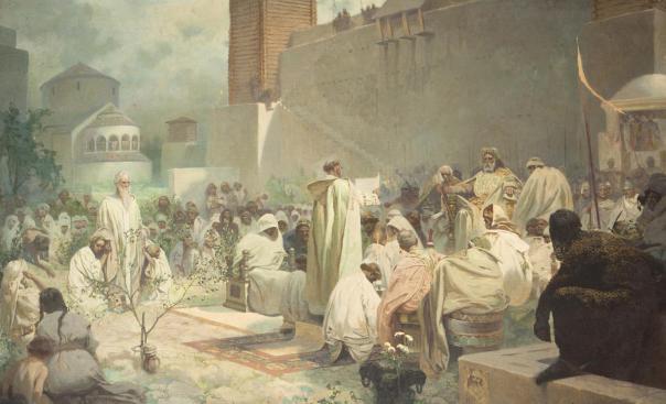 Alfons_Mucha_Die_Einführung_der_slawischen_Liturgie_in_Großmähren_-_Studie